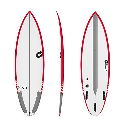 Torq Tabla de Surf Epoxy Tec Thruster 5.10 Rail Rojo Performance Shortboard