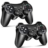 PS3 Controller 2 Pack Wireless Motion Sense Dual Vibration Upgraded Gaming Controller for Sony Playstation 3 with Charging Cord