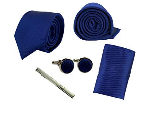 BUNCHERY & SONS Krawatte Set mit Einstecktuch, Klammer und Maschettenknöpfe in edler Geschenkbox dunkelblau königsblau nachtblau marineblau navy blue