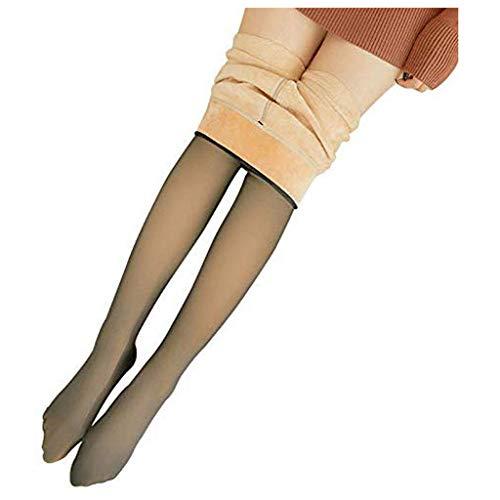 URIBAKY Extraordinario - Zapatillas de microfibra largas para mujer, forro polar cálido, 80D/220D/320D, Marrón-3, Talla única