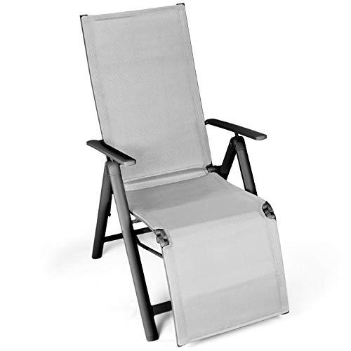 Vanage Alu Gartenstuhl mit Fußableger in grau - Klappstuhl - Hochlehner - Stuhl für Garten, Terrasse und Balkon geeignet