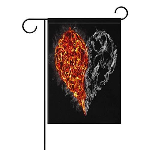 Trista Bauer Rote und Schwarze brennende Herz-Liebes-Tapeten-Garten-Flaggen-Fahne langes Polyester 12x18 Zoll