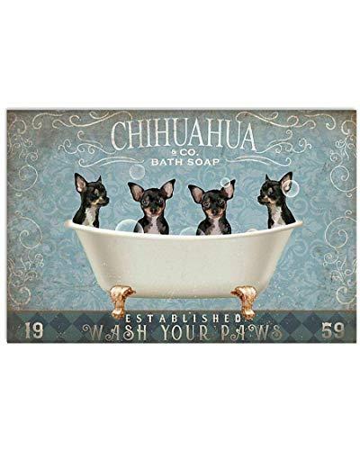 Bathroom Tin Sign Retro Vintage Chihuahua Wash Your Claws Bathroom Home Best Seat Bathroom Toilet Home Bar Fun Wall Decoration 12x16 Inches
