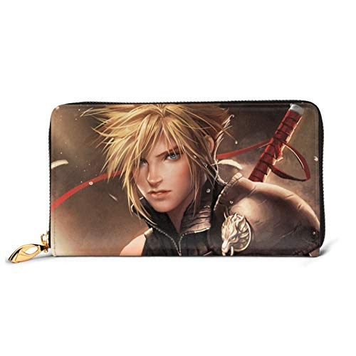 Final Fantasy Leder-Geldbörse, großes Fassungsvermögen, mit Reißverschluss, für Handy, Kreditkarten, Organizer