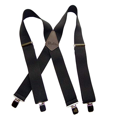 Holdup Brand Contractor Series Black X-back work Suspenders with Jumbo No-slip Silver Clips