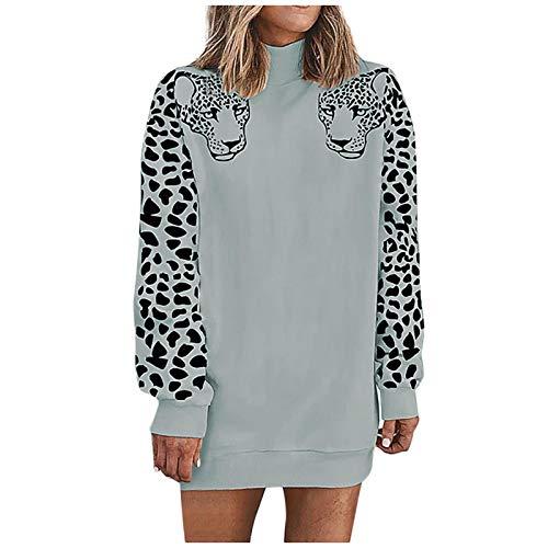 Sudaderas Jersey Sweater Sudaderas con Capucha Sociales Moda Mujer Leopardo Cuello Alto Manga Larga Sudadera Camisa Blusa Tops Abrigo De Terciopelo XL Gris