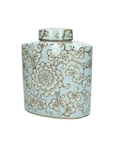 Glas Vase Pastel Hellblau Weiß Blau Blumen 20cm Home Deco Tischdeko Landhaus Dekoration Sommer Frühling Dose Aufbewahrung