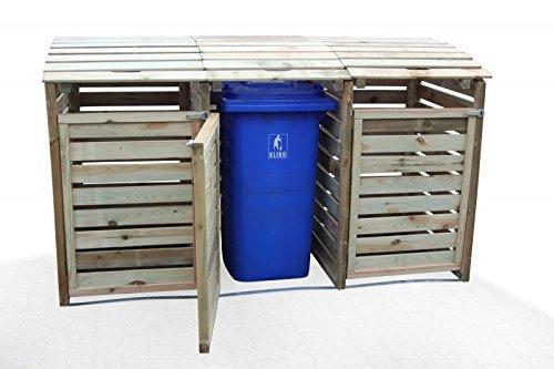 Mülltonnen-Box Mülltonnenverkleidung für 3 Tonnen inkl. Rückwand - 3