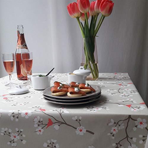 Fleur de Soleil - Nappe enduite Cerisier Taupe/corail Dimension - Rectangle 160x300cm, Finition - Ourlée, Matière - Coton enduit