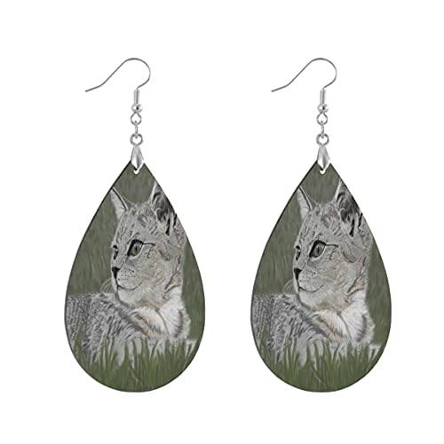 1 par de pendientes de madera con forma de gota de agua y diseño de gato de pintura digital para mujer, Leaf drop, Madera Cobre Plata,