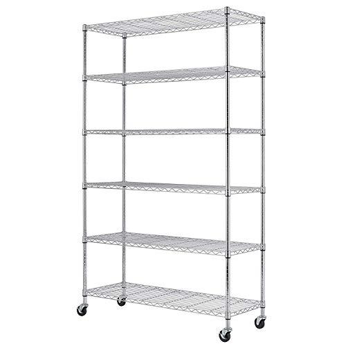 6 Shelf Wire Shelving Unit NSF Garage Storage Shelves Large Heavy Duty Metal Shelf Organizer Height Adjustable Commercial Grade Steel Rack 2100 LBS Capacity with Wheels 82 x48 x18 Chrome