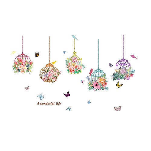 AQ89 Wall Stickers  Birdcage Butterfly Flowers Background Wall Decoration Removable Wall Stickers Home & Garden Home Decor