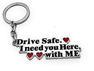 AeroStark® Stainless Steel 2020 Valentine Specials (Limited Stock) Drive Safe Handsome Engraved Keychain Keyring for Husba...
