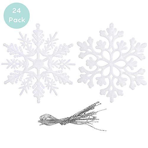 24 STK / 2 Farben Schneeflocken Anhänger Glitter Schneeflocken Deko Plastik Aufhängen Weihnachtsbaum Hängende Ornamente Schneeflocke Weihnachtsbaumschmuck Weihnachtsdeko Fensterdeko