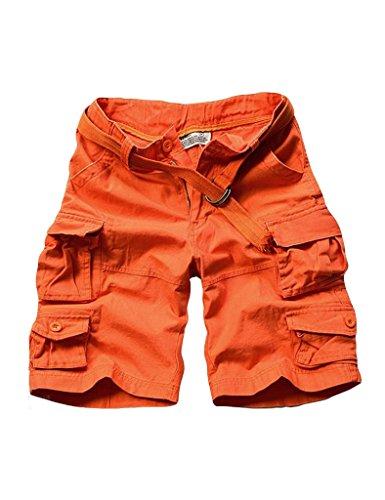 Bestgift Herren Vintage Cargo Shorts Kurz Hose Freizeit Hose Multi-Tasche Orange Aisa XXXL(EU XXL)