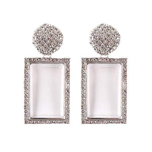 ZHENAO Pendientes de Piedras Preciosas Imitadas Pendientes de Diamantes Cuadrados Geométricos Pendientes Hechos a Mano Pendientes de Gota Moda/D