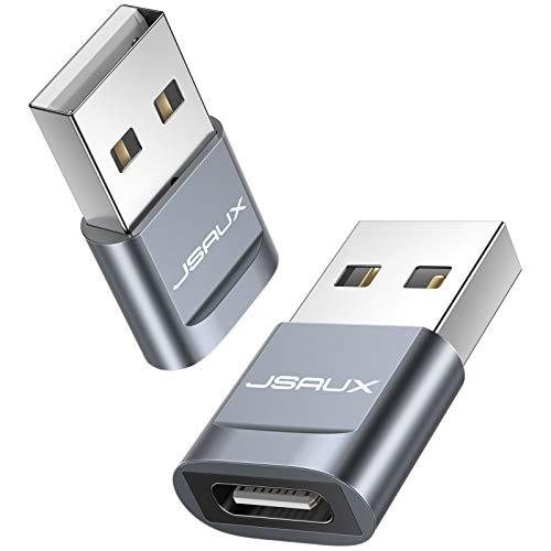JSAUX Adaptador USB C a USB [2Pack] USB-C Hembra a Tipo A USB Macho Adaptador Carga Rápida Compatible para iPhone 12/11 Pro Max Samsung A70/A50/S10/S9/S8 Pixel 2 Huawei y Otros USB C Dispositivos-Grey