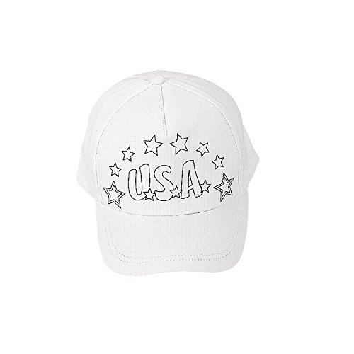 Fun Express Color Your Own Patriotic Baseball Hats for Fourth of July - Craft Kits - CYO - General -...