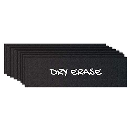 """Black Dry Erase Chalkboard Magnetic Shelf Label Magnets. Perfect for Kitchen of Office. (1"""" x 5"""" (10 Pieces)"""