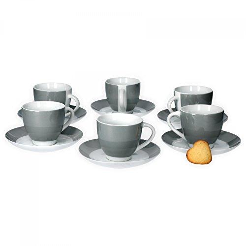 Van Well 6er Set Kaffeetasse mit Untertasse Serie Vario Porzellan - Farbe wählbar, Farbe:grau