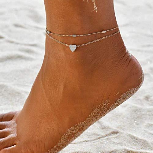 Yean Love Anklet Bracelet Coeur De La Cheville Bracelet De Mode Perles Pied Chaîne Argent Pour Femmes Et Filles