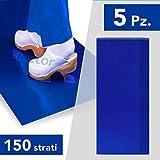 AIESI® Tappeto Decontaminante adesivo 30 STRATI a strappo CON BATTERICIDA blu dimensioni 45x120 cm (5 tappeti da 30 strati) # Antibatterico # Antipolvere # Made in Italy