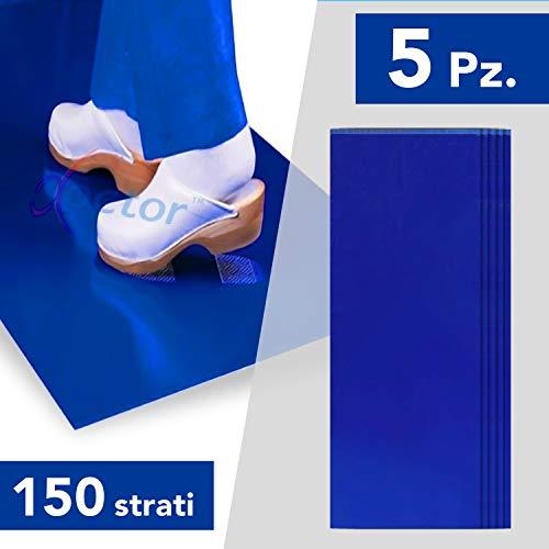AIESI Tappeto Decontaminante adesivo 30 STRATI a strappo CON BATTERICIDA blu dimensioni 45x120 cm (5 tappeti da 30 strati) # Antibatterico # Antipolvere # Made in Italy