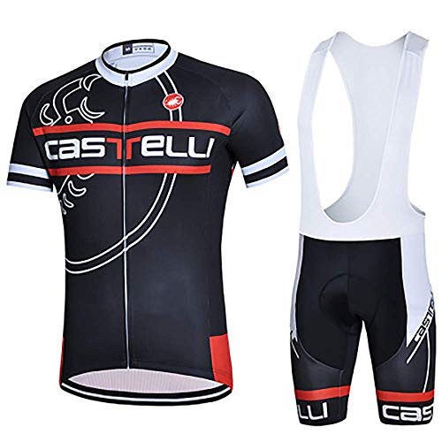 VOLORE Men's Cycling Jersey Set, Short Sleeve + Cycling Shorts with Seat Pad for Cycling +3D Padded Bib Shorts, Breathable, Short-Sleeved (12,XXL)