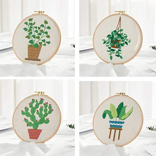 4 Pack Embroidery Starter Kit, Stamped Embroidery Kit Inclusief Borduurwerk Doek Met Pattern, Bamboe Borduurring, Kleurendraden Naald Kit Voor Volwassenen En Kinderen Beginners