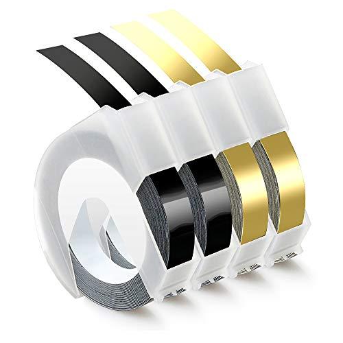 Airmall kompatible Prägeband als Ersatz für Dymo 3D Kunststoff Prägebändern 9mm x 3m Klebendes Vinyl-Präge Etiketten Für Dymo Junior Omega Etikettenprägegerät, (2x Weiß auf Schwarz, 2x Weiß auf Gold)