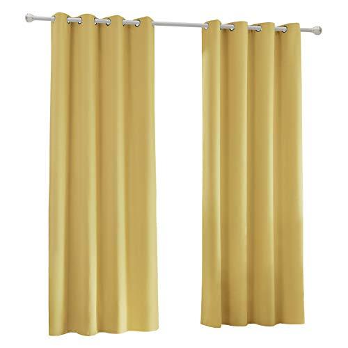 Laneetal Cortinas Dormitorio Moderno Opacas Aislantes luz Suaves(2 Piezas) Evitar Rayos UV Proteccion Privacidad con Ojales para Salon Cocina Habitacion 135x225cm Color Amarillo