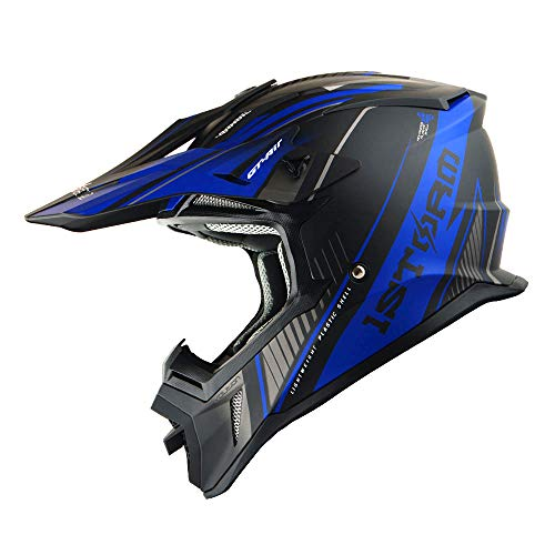 1Storm Adult Motocross Helmet BMX MX ATV Dirt Bike Downhill Mountain Bike Helmet Racing Style H637; Storm Blue
