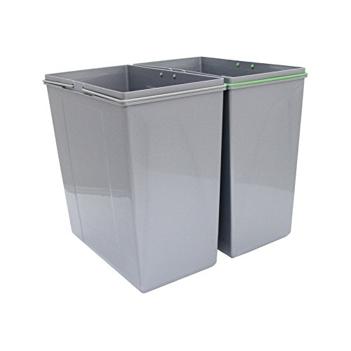 KuKoo Pullout Dust Bin Soft Close Sliding Recycling Double Kitchen 90L Recycle Waste Bin FREE Can Crusher