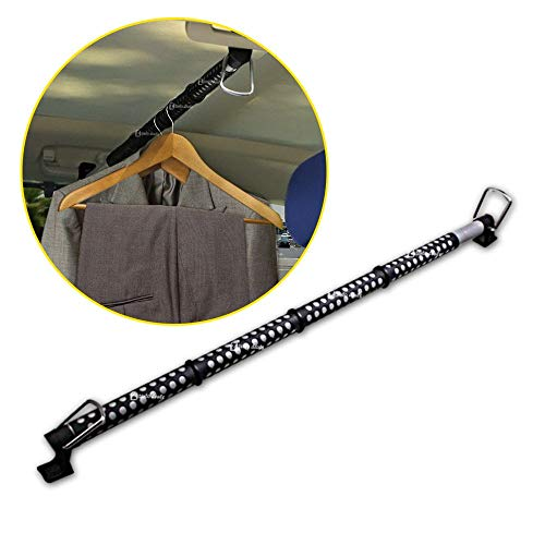 Zento Deals Heavy Duty Expandable Clothes Bar Car Hanger Rod- Convenient Classic Black Combines with Strong Metal and Rubber Grips and Rings