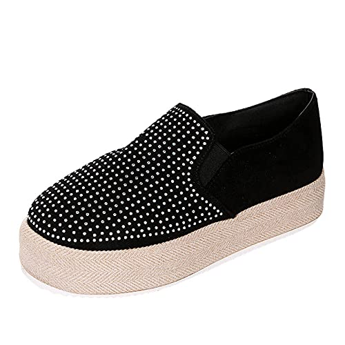 Women's Comfortable Rhinestone Loafers Casual Round Toe Wild Driving Flats Soft Walking Pumps Shoes Slip on(Black,37)