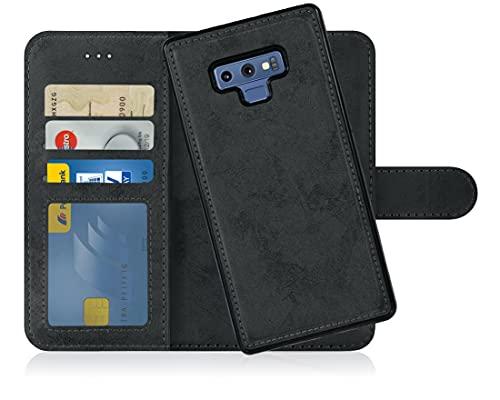 MyGadget Flip Hülle Handyhülle für Samsung Galaxy Note 9 - Magnetische Hülle aus Kunstleder Klapphülle - Kartenfach Schutzhülle Wallet - Schwarz