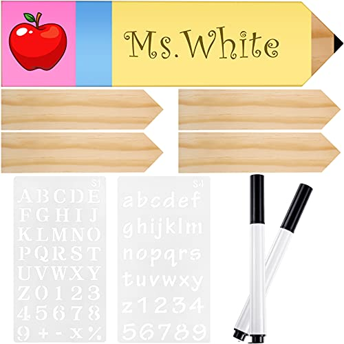 4 Pieces Pencil Teacher Plates Blank Wood Pencil Teacher Name Plates Teacher Appreciation Present with 2 Marker Pen 2 Letter and Number Alphabet Template Stencils for Desk Sign Classroom School Decor