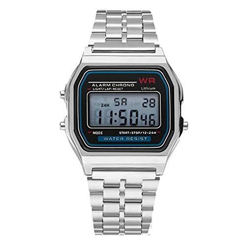 DMXYY-Reloj Moda- Unisex Relojes Deportivos LED Digital Resistente al Agua del Reloj de Cuarzo (Negro). (Color : Silver)