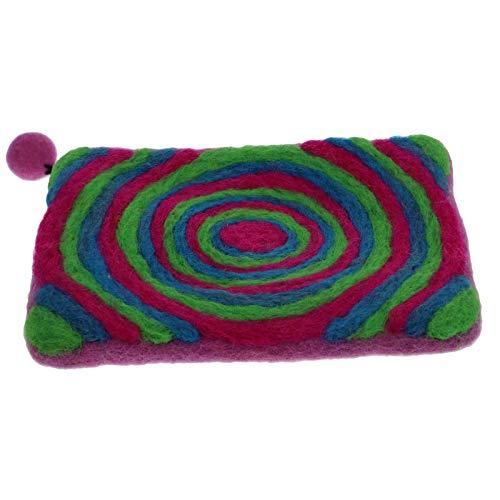 KUNST UND MAGIE Damen Geldbeutel Kulturtasche aus Filz Bunt, Farbe:Pink