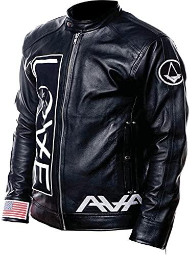 Giacca da motociclista nera vintage da uomo Ava Love Tom DeLonge Angels and Airwaves in vera pelle | Giacche in pelle da moto per uomo - Giacche nere, Colore: nero., S
