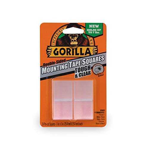 "Gorilla Tough & Clear Double Sided Mounting Tape Squares, 24 1"" Pre-Cut Squares, Clear, (Pack of 1)"