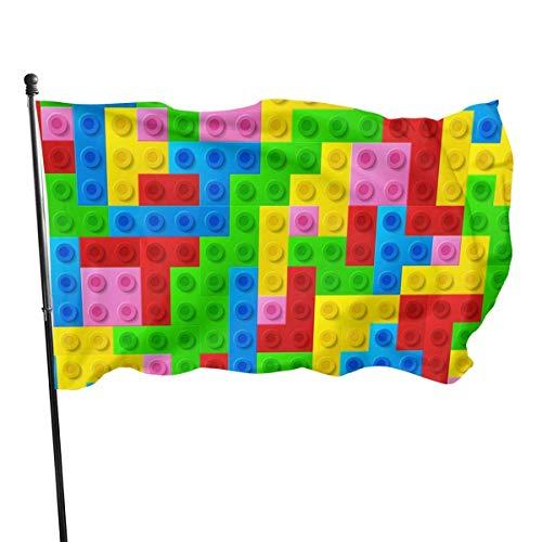 GOSMAO Bandera de Jardín Doble Costura Resistentes a la Decoloración UV Banner de Bandera Decorativo Exterior Fiesta Mardi Gras para Patio Césped Bloques de Colores 150X90cm