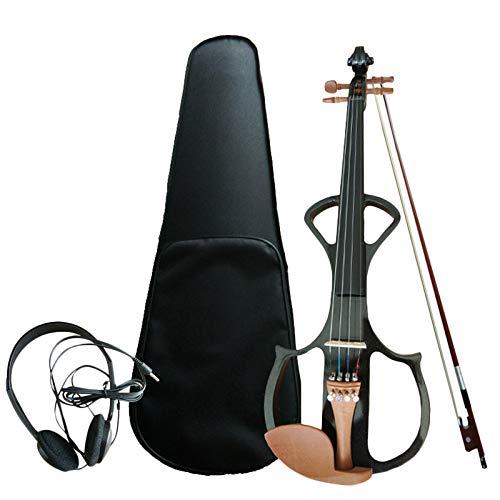Liseng 4/4 - Violín eléctrico acústico (4/4, con tapa, arco para aficionado)