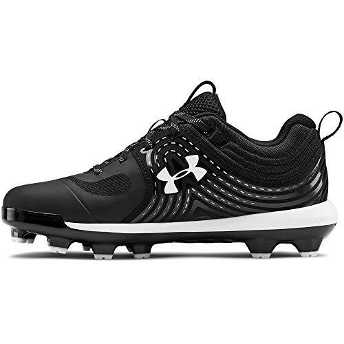 Under Armour Women's Glyde TPU Softball Shoe, Black (001)/White, 7.5