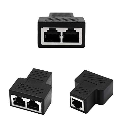 Almencla 3er Pack RJ45-Splitter-Adapter Cat5, Cat5e, Cat6, Cat7, RJ45 Netzwerk-Erweiterungsstecker Ethernet-Kabel-Sharing-Kit - Schwarz