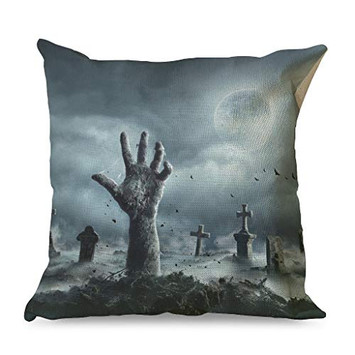 Xuanwuyi Halloween Horror Pumpkin grave night darkness Pillow Case 16x16 18x18 20x20 Inch Indoor Square White Simple Style white 45x45cm