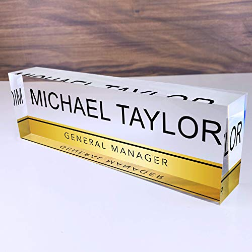 "Artblox Office Desk Name Plate Personalized | Custom Name Plates for Desks on Acrylic Glass Decor | Office Desk Decor Nameplate | Desk Accessories | Clear Gold Stripe - (8""x2.5"")"