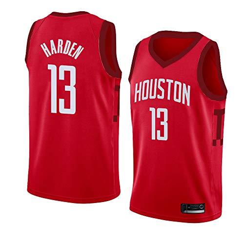 LITBIT Camiseta de baloncesto para hombre de la NBA Houston Rockets 13# Harden City Edition 2021 transpirable de secado rápido, resistente al desgaste, sin mangas, para deportes, rojo, M