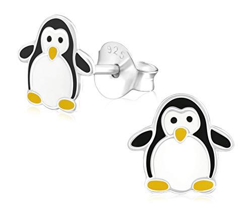 Laimons Kids Orecchini a pressione per bambini gioielli per bambini Pinguino Bianco, Nero, Giallo Argento Sterling 925