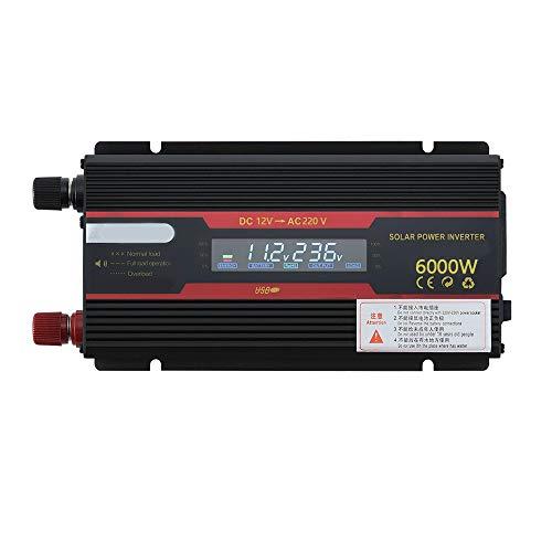 KKmoon Intelligenter Spannungswandler 2000W-12V auf 220V KFZ Wechselrichter Solar Power Car Inverter Modifizierter Sinus-Konverter mit LCD-Display für Geschaeftsfahrten und Urlaub